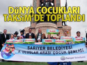 Dünya çocukları Taksim'de toplandı
