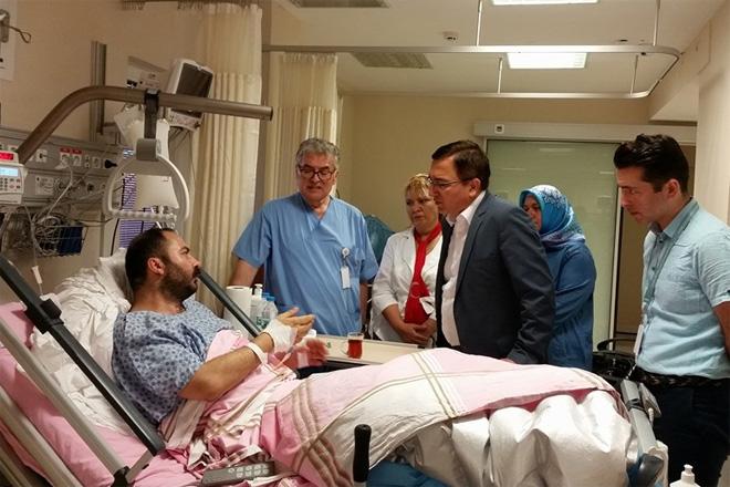 Kaymakam Gürsoy Osman Bilgin yaralıları ziyaret etti