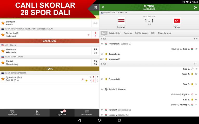 Canlı Skor Android Uygulaması ile Spor Dünyası Avucunuzun İçinde