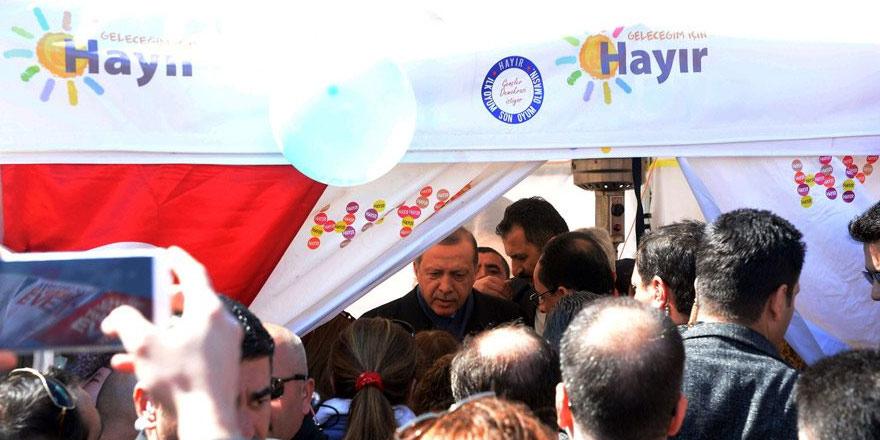 Erdoğan Sarıyer'de 'Hayır' çadırını ziyaret etti