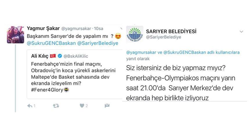 Fenerbahçe-Olympiakos maçı için Sarıyer'de dev ekran kuruluyor