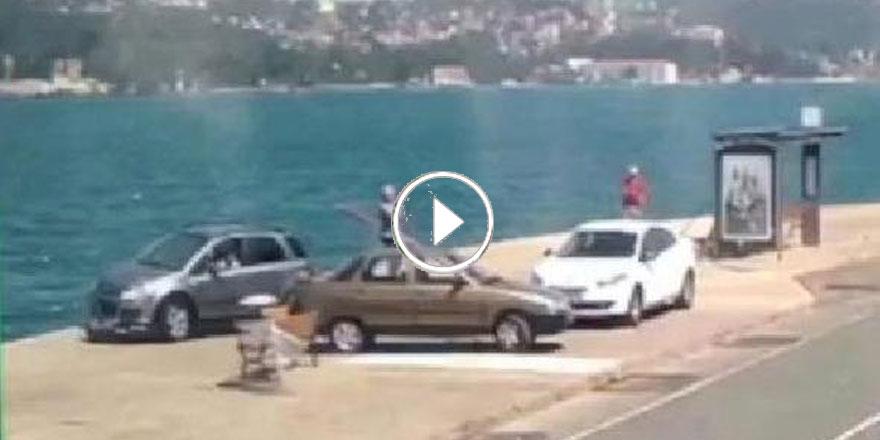 Sarıyer'de otomobilin denize uçma anı saniye saniye görüntülendi
