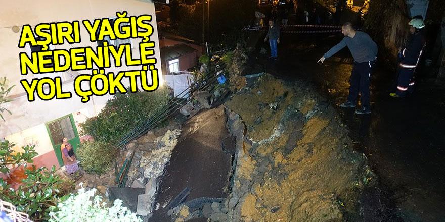 Sarıyer'de aşırı yağış nedeniyle yol çöktü