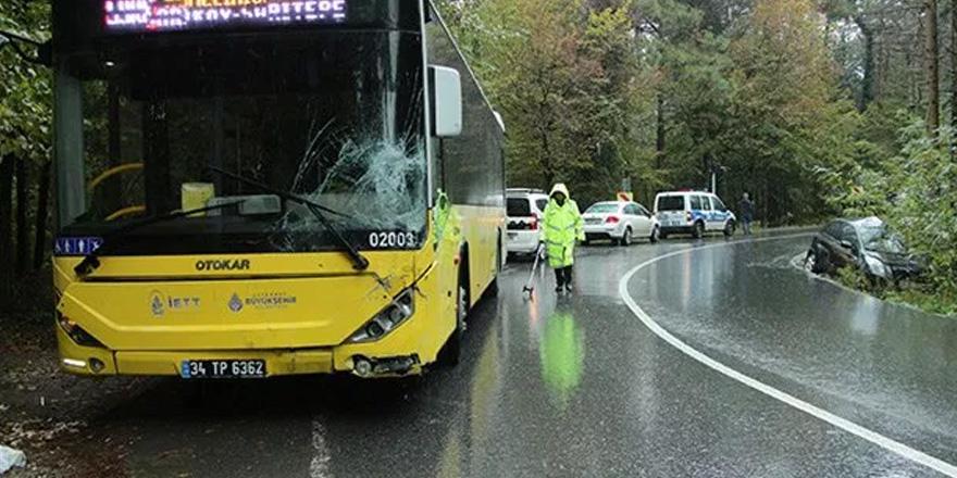 Virajı alamadı İETT otobüsüne çarptı!