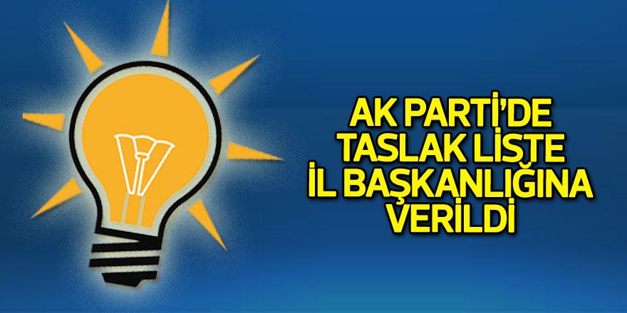 AK Parti'de taslak liste il başkanlığına verildi