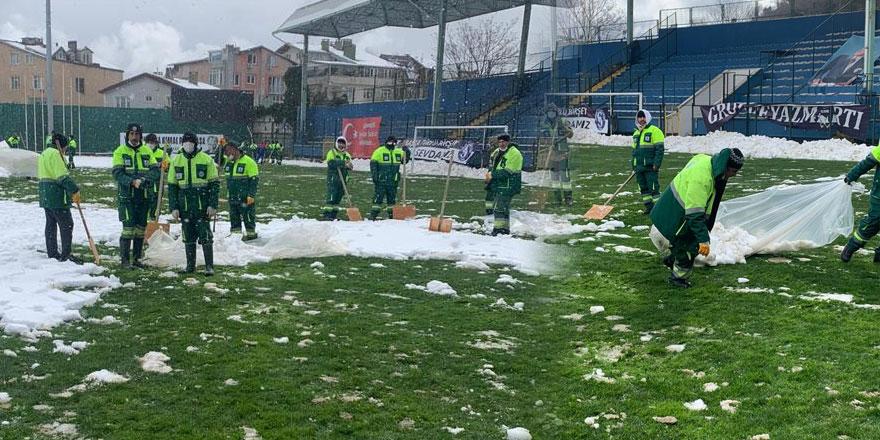 Yusuf Ziya Öniş Stadı 60 kişilik ekiple maça hazırlanıyor