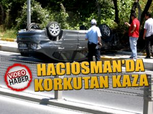 Hacıosman'da korkutan kaza