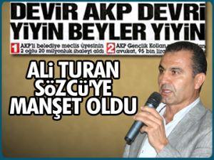 Ali Turan Sözcü'ye manşet oldu