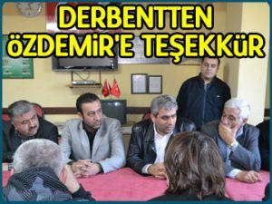 Derbentten Özdemir'e teşekkür