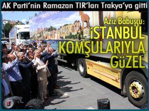 AK Parti'nin tırları Trakya'ya gitti