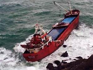 Sarıyerde kuru yük gemisi karaya oturdu