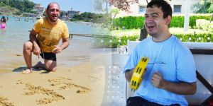 Engelli çocuklar aileleriyle birlikte tatilde