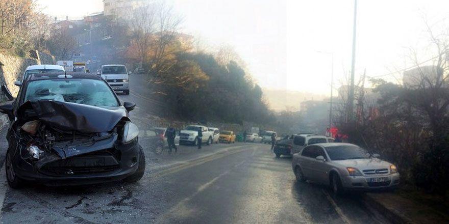 Sarıyer'de 9 araç birbirine girdi!